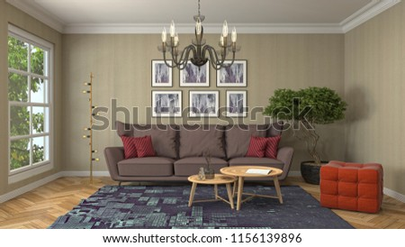 Interior of the living room. 3D illustration #1156139896