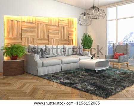 Interior of the living room. 3D illustration #1156152085