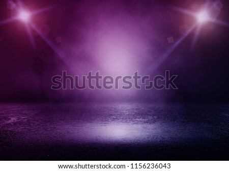 Background of empty room with spotlights and lights, abstract purple background with neon glow #1156236043