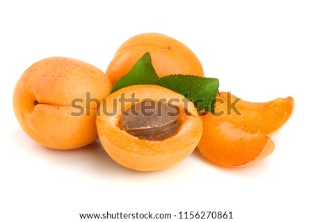 Apricot fruits with leaves isolated on white background macro #1156270861