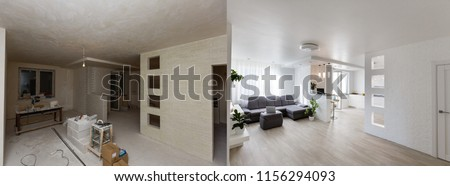 Renovation before and after - empty apartment room, new and old, #1156294093