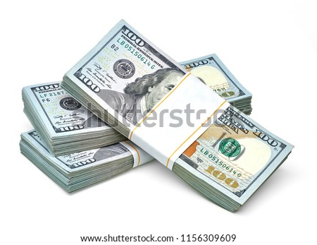 New design US Dollar bills bundles stack on white background including clipping path. Royalty-Free Stock Photo #1156309609