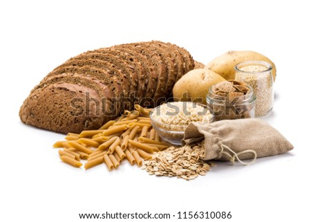 Group of whole foods, complex carbohydrates isolated on a white background #1156310086