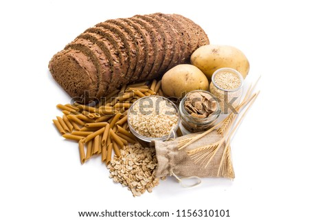 Group of whole foods, complex carbohydrates isolated on a white background #1156310101