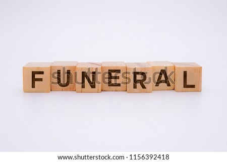 Funeral Word Written In Wooden Cube #1156392418