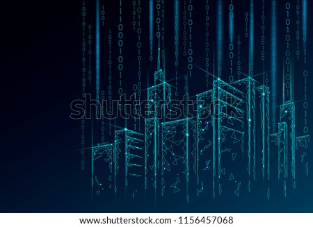 Low poly smart city 3D wire mesh. Intelligent building automation system business concept. Binary code number data flow. Architecture urban cityscape technology sketch banner vector illustration Royalty-Free Stock Photo #1156457068