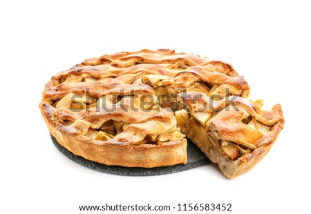 Slate plate with piece of delicious apple pie on white background #1156583452
