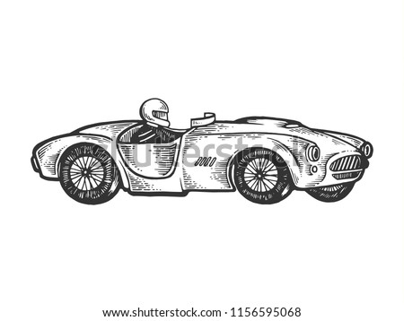 Old sport race car engraving raster illustration. Scratch board style imitation. Black and white hand drawn image.