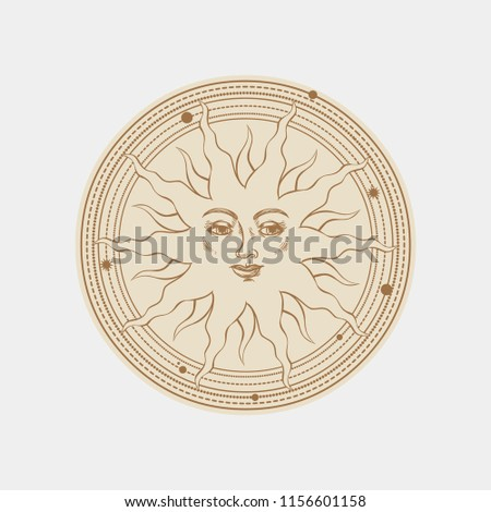 Smiling sun. Vector hand drawn illustration in medieval style. #1156601158
