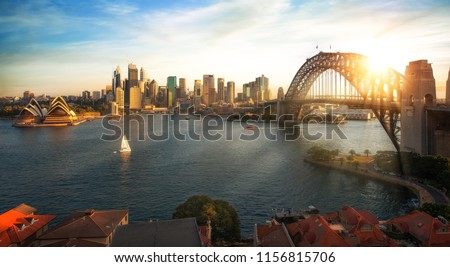Panorama of Sydney harbour and bridge in Sydney city, New south wales, Australia #1156815706