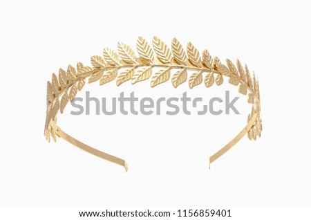 golden laurel wreath headband isolated on white