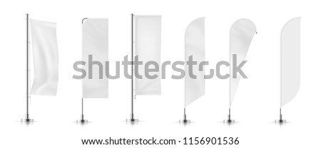 Vector set of  different types white waving advertisement  banner flag.  Vector mock-up.  Royalty-Free Stock Photo #1156901536