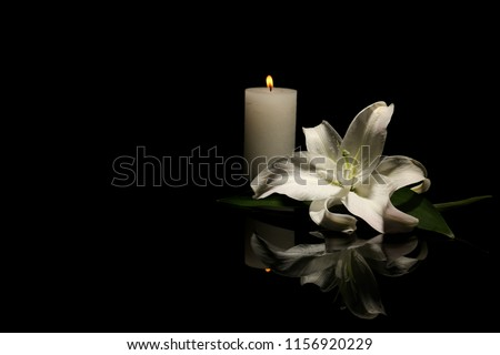Beautiful lily and burning candle on dark background with space for text. Funeral flower #1156920229