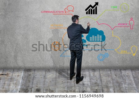 Businessman drawing a business plan on a wall #1156949698