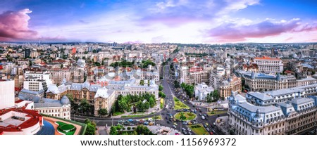 180 Degrees aerial panorama of the capital city of Romania, Bucharest. #1156969372