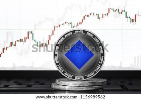 Waves (WAVES) cryptocurrency; waves coin on the background of the chart #1156989562