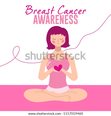 Breast Cancer Awareness, Woman sitting in yoga pose and holding heart in her hand. Pink Ribbon Background. Vector illustration #1157019460