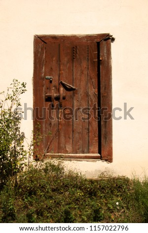 a wood and old door at the village #1157022796