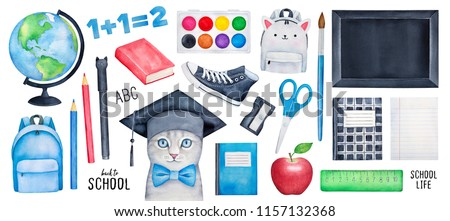 "Big ""Back to School"" collection with smart kitten character, different stationery, tools, bag, symbols, black board, paintbox, copybooks. Hand drawn watercolour painting, clip art elements for design."