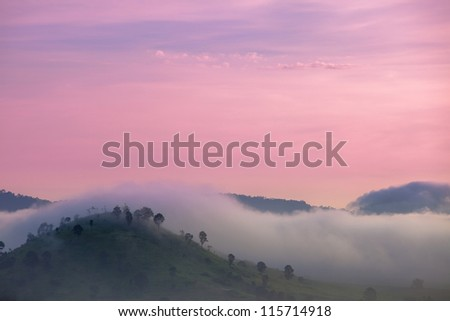 Romantic picture,Pink sky top mountain