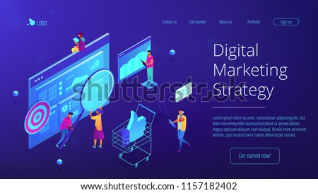 Isometric team of specialists working on digital marketing strategy landing page. Digital marketing, seo, digital analysis, profit concept. Blue violet background. Vector 3d isometric illustration. #1157182402