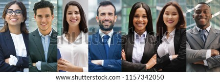 composition of portraits of business people of all ethnicities. concept of financial, insurance and marketing business. globalization and biodiversity #1157342050