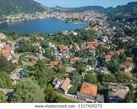 Special view by Drone - Como Lake with Villa D'Este. Spectacular view on lake, italian summer view aerial by Drone #1157420275