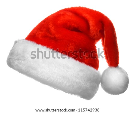 Single Santa Claus red hat isolated on white background Royalty-Free Stock Photo #115742938