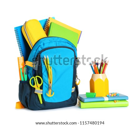 Backpack with school stationery on white background Royalty-Free Stock Photo #1157480194