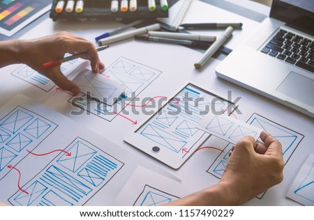 ux Graphic designer creative  sketch planning application process development prototype wireframe for web mobile phone . User experience concept. #1157490229