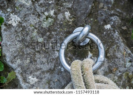 Silver metal ring with knot in rope #1157493118