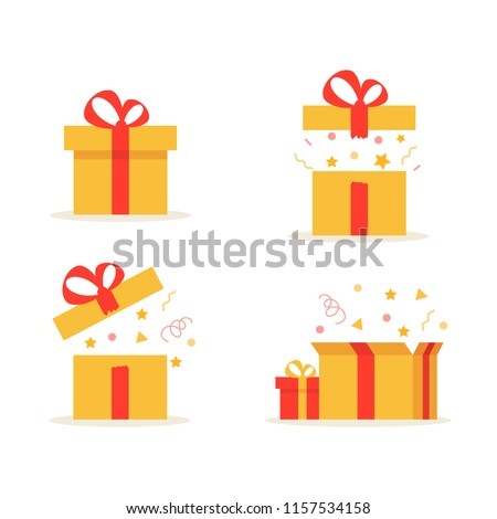 Gift boxes. Set of different present boxes. Surprise in the box. Vector. Royalty-Free Stock Photo #1157534158
