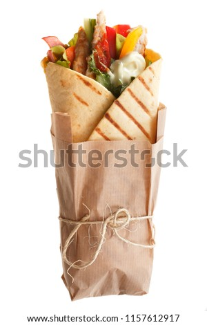 The Doner kebab (shawarma) isolated on a white background. Vertical. #1157612917