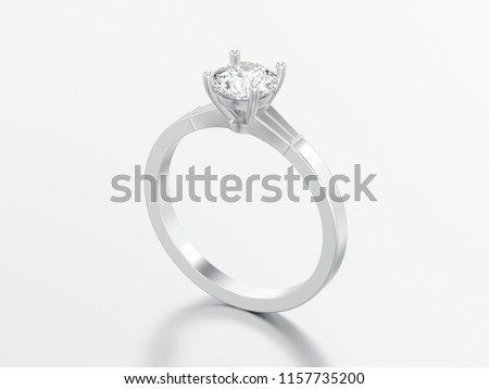 3D illustration white gold or silver traditional solitaire engagement diamond ring on a grey background #1157735200