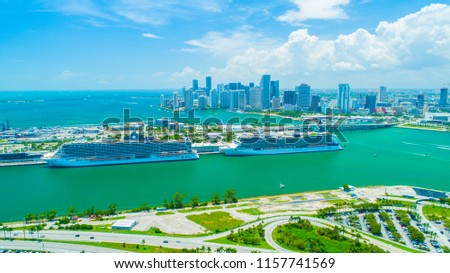 USA. FLORIDA. MIAMI BEACH. AUGUST 2018: Aerial view of Downtown Miami and Cruise port.  #1157741569