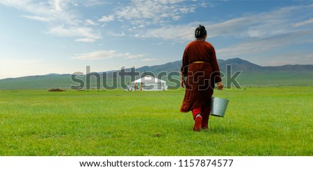 Mongolian farmer carrying bucket of milk after milking cow   in the grassland of Mongolia #1157874577