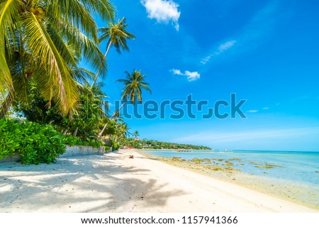 Beautiful tropical beach sea and sand with coconut palm tree on blue sky and white cloud for travel and vacation #1157941366