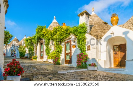 The traditional Trulli houses in Alberobello city, Apulia, Italy #1158029560