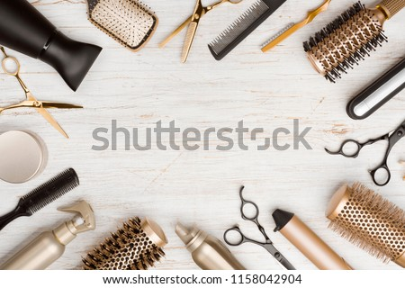 Various hair dresser tools on wooden background with copy space #1158042904