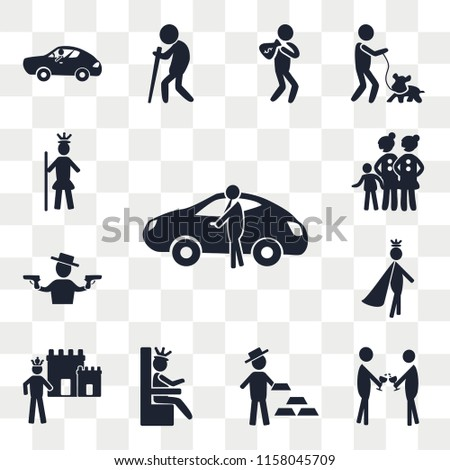 Set Of 13 transparent editable icons such as Sport car, Event, Gold bar, Queen, King, Prince, Ganster, Lesbian Couple and Son, Royalty, web ui icon pack, transparency set #1158045709