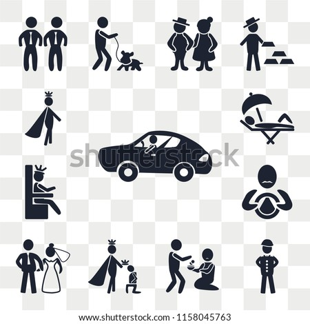 Set Of 13 transparent editable icons such as Sport car, Soldier, Charity, King, Newlyweds, Driver, Queen, Holiday, Prince, web ui icon pack, transparency set #1158045763