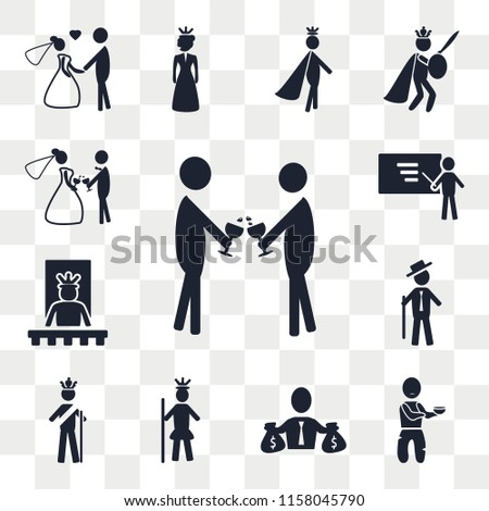 Set Of 13 transparent editable icons such as Event, Poor, Rich, Royalty, King, Rich people, Queen, Business, Wedding, web ui icon pack, transparency set #1158045790