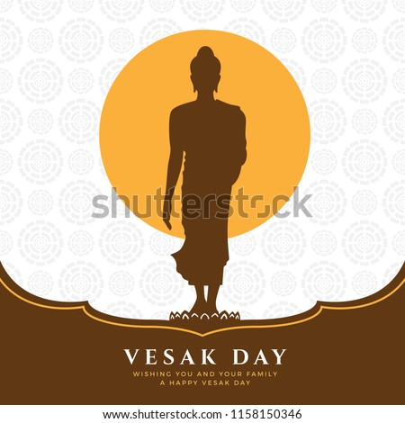 vesak day banner with Buddha Sign Stand Up on lotus and full moon on lotus abstract texture background vector design