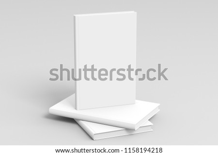 Verical blank book cover mockup standing on stack of blank books with clipping path around books on white background. 3d illustration