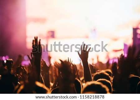 Cheering crowd at concert enjoying music performance #1158218878