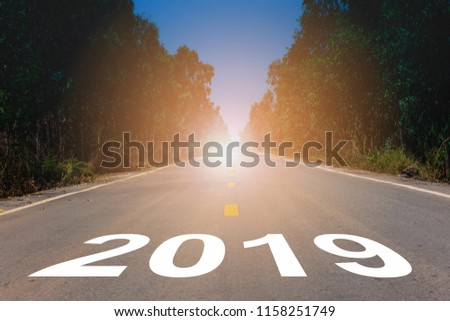 Empty road block ahead message on the highway lane New Year's Resolution 2019 goals. Target success concept.  #1158251749