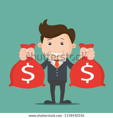 Businessman hands holding money bag.Vector illustration. #1158430336