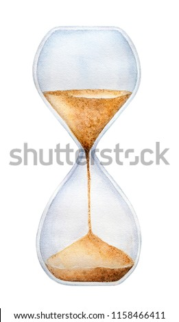 Hourglass timer with trickling golden sand. One single object. Symbol of limited span of time, inevitability, transience. Hand drawn watercolour graphic painting on white, cut out clip art element.