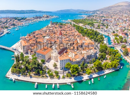 Aerial view of Trogir in summer, Croatia #1158624580