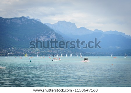 annecy in france mountains and lake view #1158649168